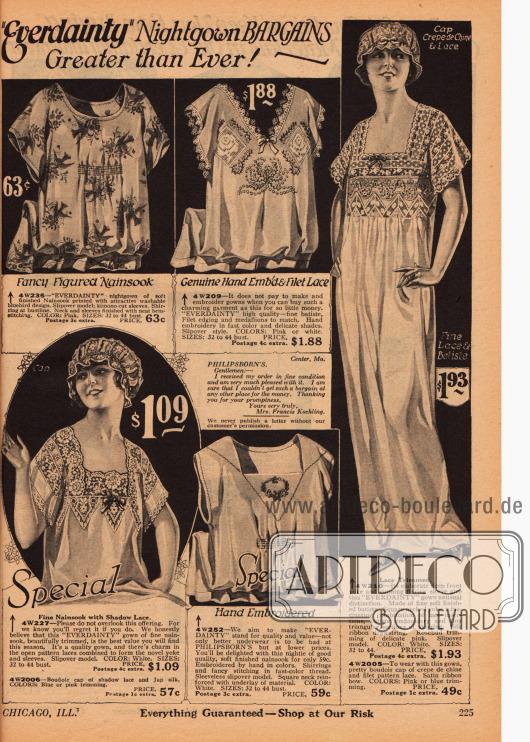 Doppelseite mit Nachtroben, Hauben und Pyjamas für Frauen aus besticktem oder bedrucktem Nainsook (leichter Musselin), Batist, Crêpe de Chine und mit viel Spitzengarnierung.