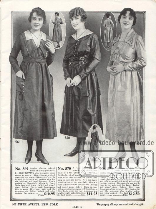 Drei feine Damenkleider aus Seiden-Taft für den Nachmittag oder für die Stadt. Die in ihrer Aufmachung eher zurückhaltend gestalteten Modelle zeigen einzelne Reihen mit Zierknöpfen, aufgesetzte Taschen (erstes Kleid), metallene Zierschnallen (mittleres Modell) oder leichte von Hand gestaltete Stickereien (letztes Kleid).