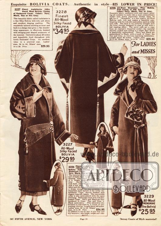 """Drei Exklusive Damenmäntel aus Woll-Bolivia (hier auch """"Ambrizette"""" genannt) und Woll-Mondaine mit seidig glänzenden Oberflächen zu Preisen von 25,95 bis 34,95 Dollar.Das erste Modell zeigt flächige Stickerei im Schoßbereich und am Kragen. Im Schoß endet die Stickerei in birnenförmigen Ornamenten.Der zweite Mantel präsentiert weite capeartige Ärmel, die im Rücken in sehr langen Seiden-Quasten enden. Farblich abstechende Stickerei ziert Kragen und Ärmel.Das dritte Modell zeigt einen elegant bestickten Kragen und Unterärmel, die nach einem teuren importierten Mantel gearbeitet sind. Der Rücken ist glatt und geradlinig gehalten."""