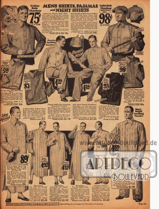 Schlafanzüge und Nachthemden aus Flanell, sowie Arbeitshemden aus Chambray und Khaki für Männer.