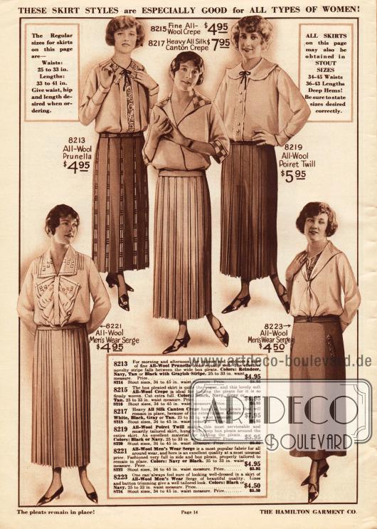 Überwiegend plissierte Damenröcke aus reinem Woll-Serge, Woll-Prunella, Woll-Krepp oder Seiden Kanton Krepp sowie Poiret Wolle.