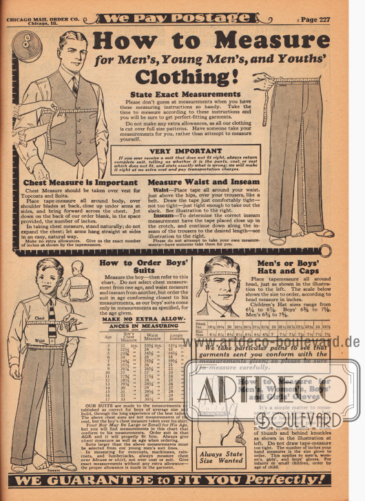 """Wie man Maße für Kleidung von Männern, jungen Männern und Jungen nimmt! Geben Sie genaue Messwerte an!"" (engl. ""How to Measure for Men's, Young Men's, and Youth's Clothing! State Exact Measurements"")."