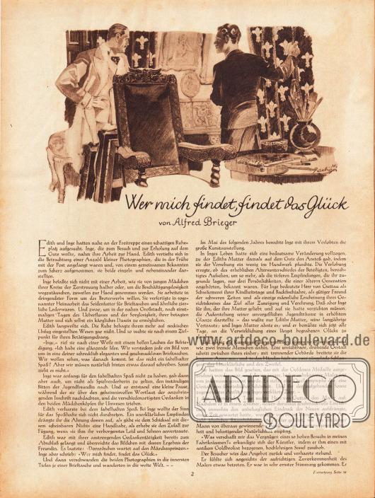 Artikel: Brieger, Alfred, Wer mich findet, findet das Glück. Zeichnung: Heinz Raebiger (1903-ca.1955).