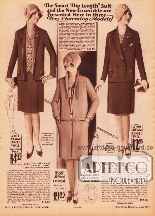 Oben zwei Kostüme aus glatt gewebtem Woll-Kord für Frauen und unten mittig ein Ensemble aus Woll-Kasha (Breitgewebe) für Damen. Das Kostüm oben links ist knopflos. Revers, Kragen und Taschenklappen sind mit Einfassborte verziert. Die darunter liegende Bluse ist doppelreihig und schließt zackig ab. Das herrenmäßig gearbeitete Damenkostüm rechts zeigt ebenfalls Einfassborten und Tressen an den Taschen. Die Jacke ist doppelreihig und besitzt eine Tasche für ein Stecktuch. Der Ensemble-Mantel unten wird nur über einen Gürtel geschlossen. Der schmale Stehkragen ist schalartig gehalten. Biesen zeihen sich von der Brust bis in die Rückenpartie.