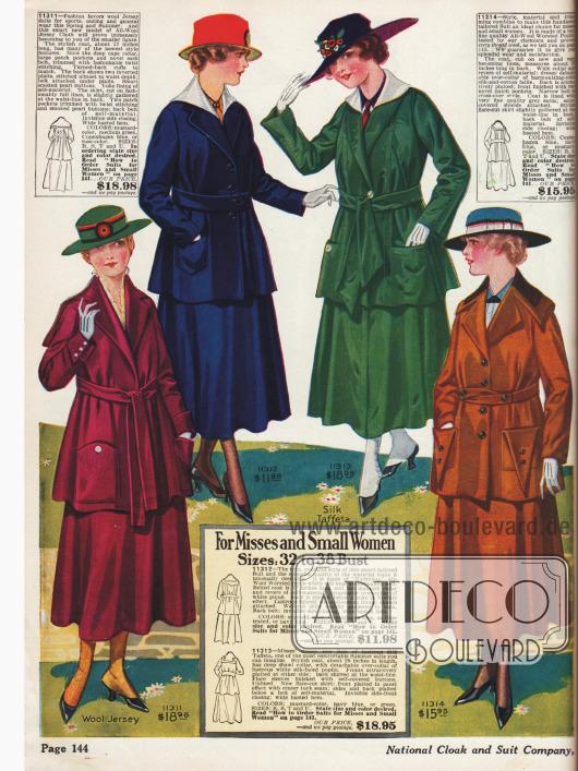 "Alle Kostüme sind in den Farben ""mustard color"" (dunkles gelb), ""medium green"", ""Copenhagen blue"" oder ""rose color"" bestellbar."