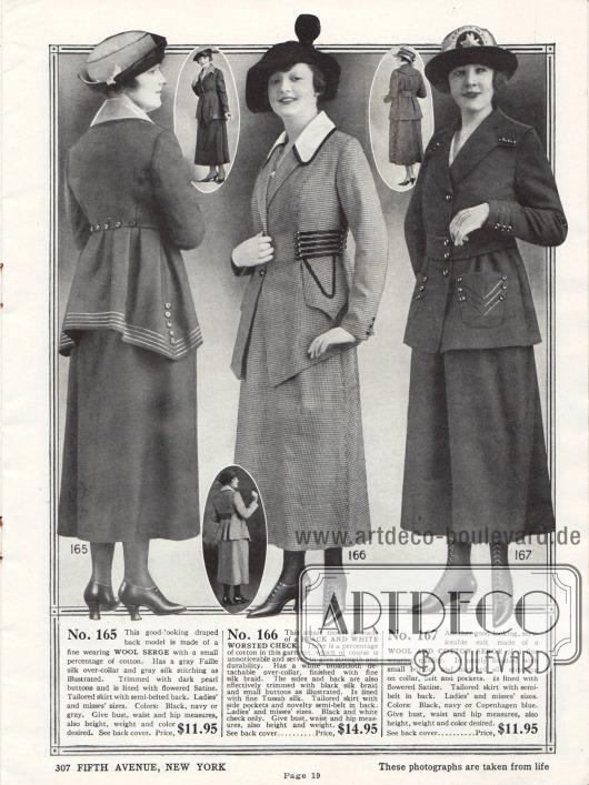 Drei Kostüme aus Woll-Serge und aus karierten Baumwoll-Woll-Mischstoffen. Alle Jacken sind mit Tressen versehen, die sich hauptsächlich an den Säumen, der Taille, auf den Taschen oder an den Ärmeln finden lassen und von den Uniformen aus dem Militär übernommen wurden. Auffällig sind die punktuell verlängerten Schöße der ersten beiden Kostümjacken. Knöpfe dienen der zusätzlichen Zierde. Die Knöpfe des ersten Modells sind zudem aus Perlmutt.