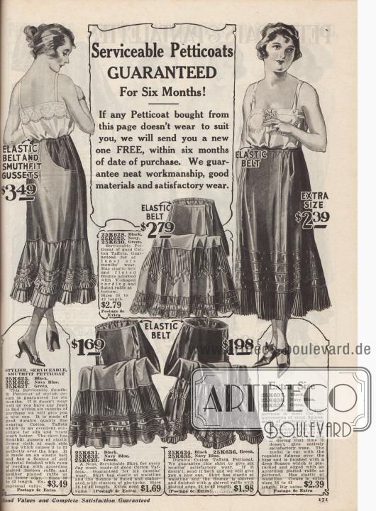 """""""Dienstbare Petticoats für sechs Monate GARANTIERT! Wenn ein auf dieser Seite gekaufter Petticoat nicht Ihren Wünschen entspricht, senden wir Ihnen innerhalb von sechs Monaten nach dem Kaufdatum KOSTENLOS einen neuen Petticoat zu. Wir garantieren saubere Verarbeitung, gute Materialien und zufriedenstellenden Tragekomfort"""" (engl. """"Serviceable Petticoats GUARANTEED For Six Months! If any Petticoats bought from this page doesn't wear to suit you, we will send you a new one FREE, within six months of date of purchase. We guarantee neat workmanship, good materials and satisfactory wear""""). Petticoats aus günstigem Baumwoll-Taft in Standardgrößen und für Damen mit stärkeren Figuren. Die Petticoats sind mit Haarbiesen, plissierten Rüschen, Einsätzen aus Akkordeon-Plissee und elastischen Gürtelbändern versehen."""