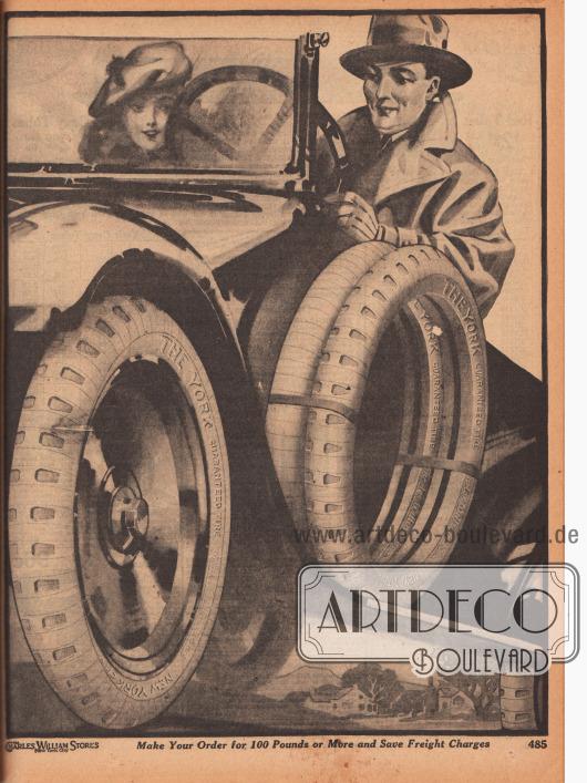 Gezeichnete Abbildung mit einer Dame und einem Herrn am Steuer eines Roadster Kabrioletts und Autoreifen mit entsprechenden Ersatzreifen der Marke York – Beschreibungstext steht auf der gegenüberliegenden Seite 484.