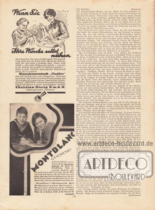 """Artikel: Welten, Heinz, Die Eroika. Werbung: Hausfrauentuch """"Treffer"""", Christian Dierig GmbH, Oberlangenbielau (Schlesien); Montblanc Füllfederhalter."""