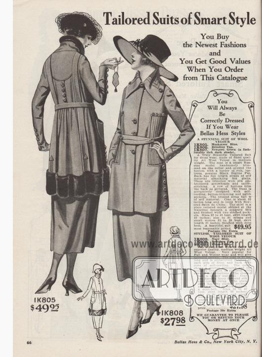 """""""Schneiderkostüme im eleganten Stil. Sie kaufen die neueste Mode und Sie erhalten gute Preise, wenn Sie aus diesem Katalog bestellen. Sie werden immer korrekt gekleidet sein, wenn Sie Bellas Hess-Modelle tragen"""" (engl. """"Tailored Suits of Smart Style. You Buy the Newest Fashions and You Get Good Values When You Order from This Catalogue. You Will Always Be Correctly Dressed If You Wear Bellas Hess Styles"""").  1K805 / 1K806 / 1K807: Jackenkleid aus mittelschwerem Woll-Velours, bestellbar in Musketier Blau, Rentierbraun oder tiefem Newport Grün, zum Preis von 49,95 Dollar. Russische Kostümjacke mit rundum verbrämtem Saum und Kragen aus glänzend schwarzem """"Sealine Fur"""" (auf Robbe geschorenes und gefärbtes, australisches Kaninchen). Zwei mit Pfeilen bestickte Blenden im Rücken simulieren Kellerfalten. Jacke mit Knopfgarnitur und Paspelierung. Geblümtes Satin de Chine als Jackenfutter. 1K808 / 1K809 / 1K810: Straßenkostüm aus Woll-Velours für 27,98 Dollar, erhältlich in Marineblau, Rentierbraun oder Purpur. Reihen von Paspeln zieren zu beiden Seiten die Jacke und den Kragen. Schmaler, gekreuzter Stoffgürtel. Reiche Knopfgarnitur. Bunt geblümter Seiden-Baumwollstoff als Futter. Glatter Rock mit zwei Schlitztaschen."""