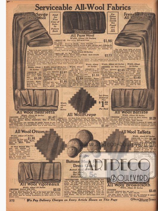 """""""Dienstbare Wollstoffe"""" (engl. """"Serviceable All-Woll Fabrics""""). Stoffe zum Nähen von Kleidern, Röcken, Kostümen und Mänteln. Auswählbar sind """"Storm""""-Woll-Serge, Woll-Panama-Gewebe, französischer Woll-Serge, """"All Woll Henrietta"""" (?), Woll-Krepp, Woll-Batist, Woll-Ottoman, Woll-Taft, Woll-Vigoreaux (?) sowie Woll-Breitgewebe. Die Stoffe können auch dazu verwendet werden um Knöpfe unterschiedlicher Größe zu überziehen (siehe unten Mitte). Die Preise beziehen sich auf einen Yard (91,44 cm). Die Breiten der Gewebe liegen zwischen 35 und 54 Inch (88,9 und 137,16 cm)."""