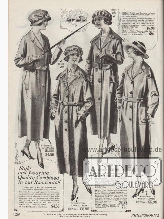 Regenmäntel und Regenhauben für Frauen aus gummierten Stoffen wie Bombasin (Seiden-Woll Gemisch), Popeline und Tweedmischstoff. Die Mäntel sind der aktuellen Mantelmode in Schnitt und Aufmachung angeglichen.