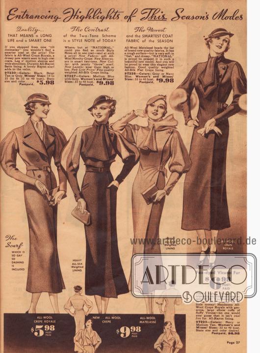 """""""Die Highlights der Mode dieser Saison"""" - Damenmäntel mit Halstüchern und auffälligen Puffärmeln."""