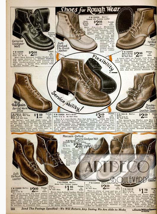 """""""Shoes for rough wear"""". Arbeitsschuhe für starke Beanspruchung aus Elch oder Kalbsleder."""