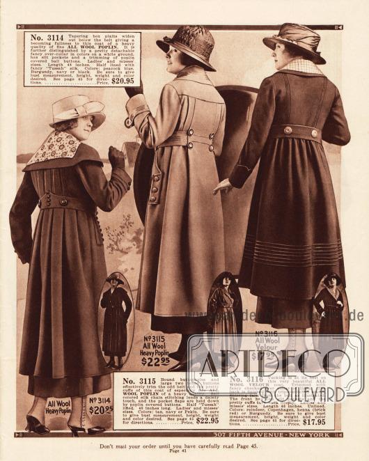 Damenmäntel für das Frühjahr aus Woll-Popeline und Woll-Velours, deren Säume kürzer als die Kleider sind. Die eigentliche Weite der Mäntel wird auch durch die großen Falten in den Rückenpartien deutlich.