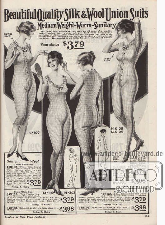 """""""Schöne hochwertige Seiden- & Woll-Hemdhosen. Mittelschwere Qualität – Warm – Hygienisch. Die auf dieser Seite abgebildeten Hemdhosen sind alle aus einem schönen, mittelschweren, weichen, reinen Wollstoff hergestellt mit einem Anteil an fester Baumwolle, der ein Einlaufen verhindert und die Trageeigenschaften verbessert. Fäden aus feiner Seide in Streifeneffekt sind durch das Gewebe gewebt. Das Material ist nicht wuchtig dick, aber bequem und warm.  Ihre Wahl für je 3,79 Dollar""""  (engl. """"Beautiful Quality Silk & Wool Union Suits. Medium Weight – Warm – Sanitary. The Union suits pictured on this page are all made of a beautiful quality, medium heavy weight, soft pure Wool fabric mixed with a percentage of strong Cotton which prevents shrinkage and adds to the wearing qualities. Threads of fine Silk in stripe effect are woven through the fabric. The material is not bulky, but gives comfort and warmth. Your choice, $3.79"""").  Einteilige Hemdhosen aus cremeweißer Seide und Wolle und teilweise mit Baumwollanteil in mittleren bis dicken Qualitäten. Alle Modelle besitzen vorne Knopfleisten, am Gesäß eine bequeme Öffnung, einen niederländischen Halsausschnitt (engl. """"dutch neck"""") und ein Schleifchen. Eine Hemdhose mit halblangen Ärmeln und Beinen."""
