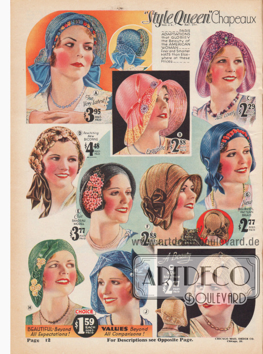 Die neuen stirnfreien und leichten Hüte unterstreichen die neue Weiblichkeit.