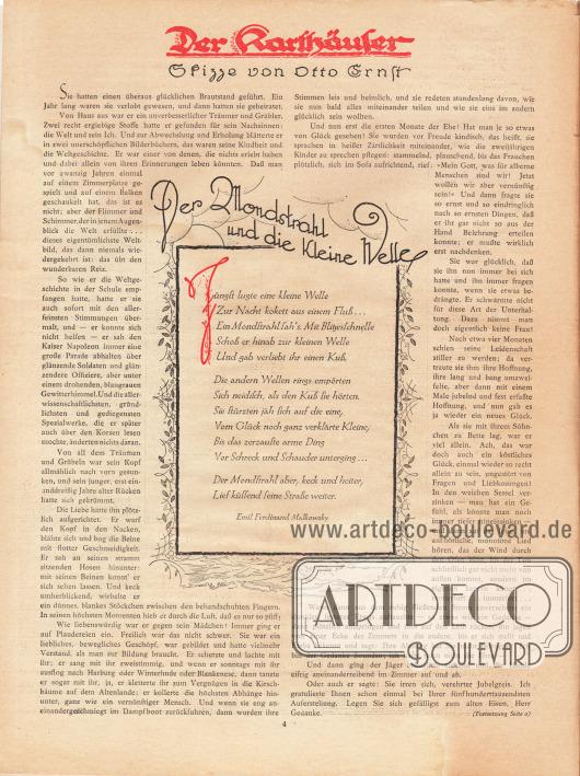 Artikel: Ernst, Otto, Der Karthäuser. Skizze von Otto Ernst; Malkowsky, Emil Ferdinand (1880-1967), Der Mondstrahl und die kleine Welle.