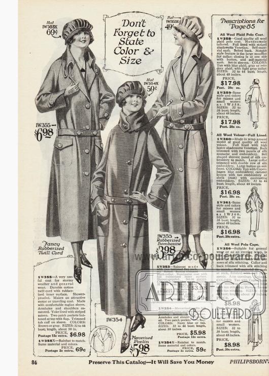Regenmäntel für Frauen, die auch für staubige Autofahrten geeignet sind, mit passenden Regenhauben aus gummiertem Baumwollgarn und Bombasin sowie aus merzerisierter Popeline. Auf der rechten Seite sind die Erklärungen für die Modelle der folgenden Seite 85.