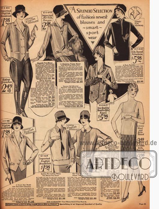 """Sportbekleidung für Damen zu günstigen Preisen aus Broadcloth (""""Breitgewebe""""), Seide, Samt und Rayon. Der Schnitt der Blusen ist sehr männlich gehalten - besonders die Bluse mit Knickerbockerhose wirkt sehr maskulin."""