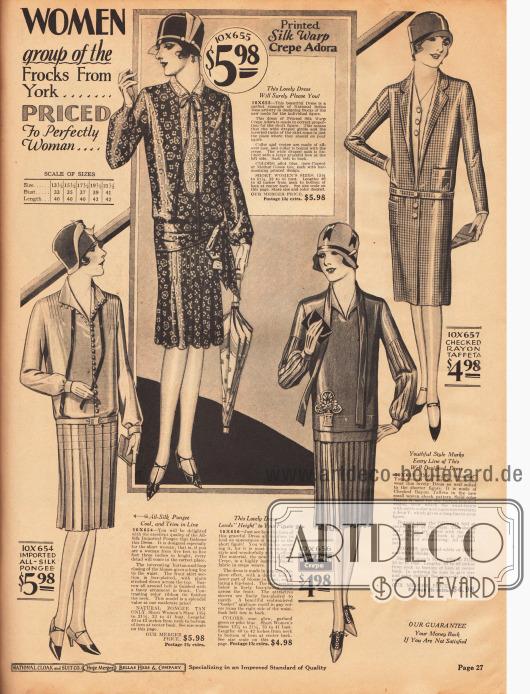 """Günstige Damenkleider, die speziell für Frauen mit einer Körpergröße von unter 5 feet 3 inch (etwa 1,60 m) kreiert sind. Die Kleider bestehen aus Seidengewebe, bedrucktem Seiden Krepp Adora (Seiden-Baumwoll-Material), """"Glow-Sheen Crepe"""" (Rayon Krepp) und kariertem Rayon-Taft.Das erste Modell von oben zeigt einen Westeneinsatz mit Kragen aus Spitze. Auch das zweite Kleid von zeigt eine Weste umrahmt von einem Kragen. Die beiden unteren Kleider zeigen Röcke mit Quetschfalten (engl. """"box-plaited"""")."""