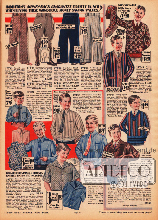 """Lange und kurze Hosen, Hemden, Pullover, ein Cardigan und eine Sportlederjacke (engl. """"lumber jacket"""", Blouson) für Jungen im Alter von 4 bis rund 16 Jahren. Die Hosen sind aus Woll-Kaschmir, Khaki, Kanevas und Woll-Flanell hergestellt. Unter den Hosen ist auch eine Reiterhose (Breeches). Die Hemden sind auch leicht gemusterten und farbigen Breitgeweben, während die Strickpullover aus Wollstoffen gefertigt wurden. Für den Pullover oben rechts werden auch die passenden Socken im gleichen Muster angeboten."""