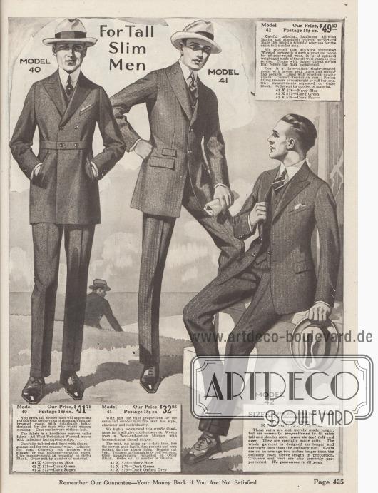 Doppelseite mit Herrenanzügen für überdurchschnittlich starke oder große Figuren. Die Anzüge sind aus reiner Wolle und Kaschmire.
