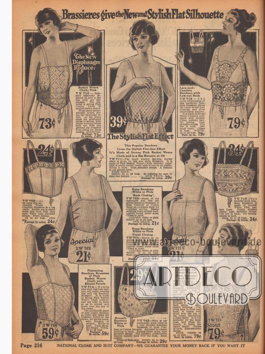 """""""Büstenhalter geben die neue und modische flache Silhouette""""Die Büstenhalter bestehen aus Batist, Baumwolle und Brokat. Manche sind mit Spitze geziert, andere haben elastische Einsätze."""