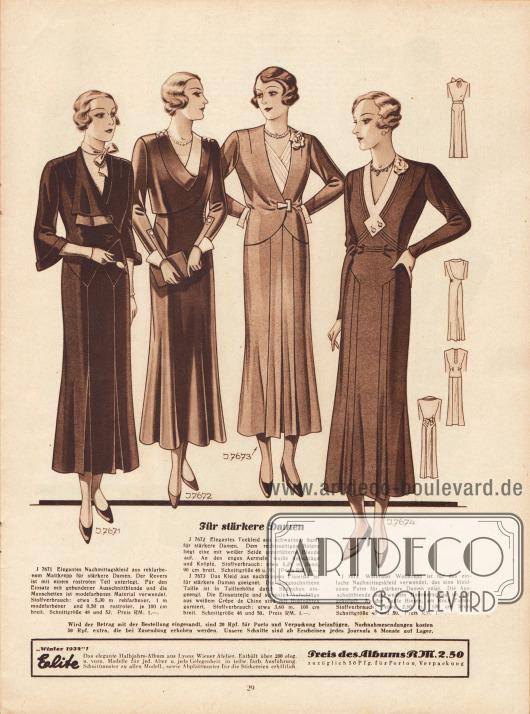 """""""Für stärkere Damen"""". 7671: Elegantes Nachmittagskleid aus rehfarbenem Mattkrepp für stärkere Damen. Der Revers ist mit einem rostroten Teil unterlegt. Für den Einsatz mit gebundener Ausschnittblende und die Manschetten ist modefarbenes Material verwendet. 7672: Elegantes Teekleid aus schwarzem Samt für stärkere Damen. Dem rechtsseitigen Bolero liegt eine mit weißer Seide unterfütterte Blende auf. An den engen Ärmeln weiße Aufschläge und Knöpfe. 7673: Das Kleid aus nachtblauem Flamisol ist für stärkere Damen geeignet. Die langgeschnittene Taille ist in Taillenhöhe durch Säumchen eingeengt. Die Einsatzteile und schmalen Aufschläge aus weißem Crêpe de Chine sind mit Hohlnähten garniert. 7674: Weinroter Wollkrepp ist für das einfache Nachmittagskleid verwendet, das eine kleidsame Form für stärkere Damen zeigt. Die Ausschnittblende aus weißem Hammerschlag ist aufgeknöpft. An der Taille Biesen, am Rock Falten."""