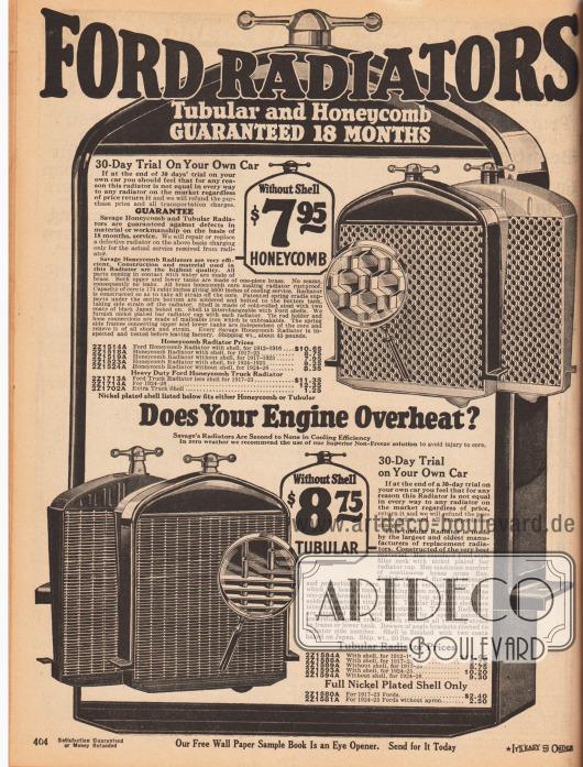 """""""Ford Kühlergrills – mit Gitternetz oder mit Waben – 18 Monate Garantie"""" (engl. """"Ford Radiators – Tubular and Honeycomb – Guaranteed 18 Moths"""").Kühlergrills mit Gitternetz oder Wabengitter für Ford Automobile und Transporter der Modelljahre 1912 bis 1926."""