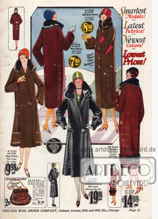 Damenmäntel aus Woll-Velours im geraden oder glockigen Schnitt in den aktuellen Herbstfarben Schwarz, Havanna-Braun oder Burgund-Rot.