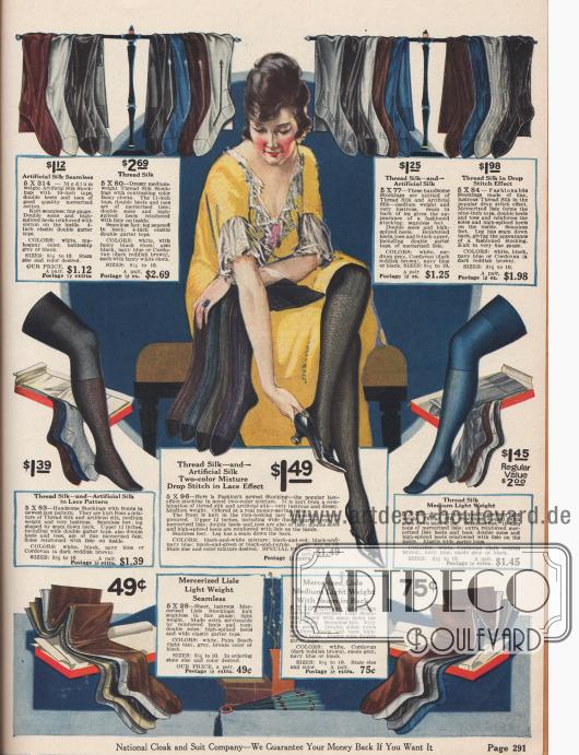 Seidene und kunstseidene Damentrümpfe in vorherrschend dunklen Farben wie Schwarz, Grau, Blau und Braun. Unten im Bild befinden sich sehr günstige Strümpfe aus merzerisiertem Florgarn (Baumwolle).