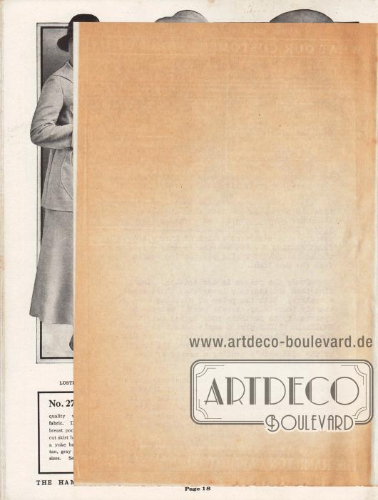 Lose Beilage im Katalog:Unbeschriebene Rückseite des Faltblattes.