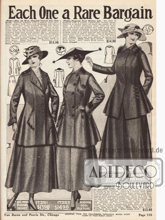"""""""Don't Overlook these Suit Values - Each One a Rare Bargain"""" (dt. """"Übersehen Sie diese günstigen Kostüme nicht - Jedes ein seltenes Schnäppchen"""") Drei Kostüme aus reinem Woll-Cheviot, einem Woll-Gemisch und Woll-Serge. Alle Oberflächenstoffe wurden diagonal verarbeitet. Tressen, Abnäher, Zierknöpfe und auch etwas Wolfspelz geben jedem Kostüm eine besondere Note."""