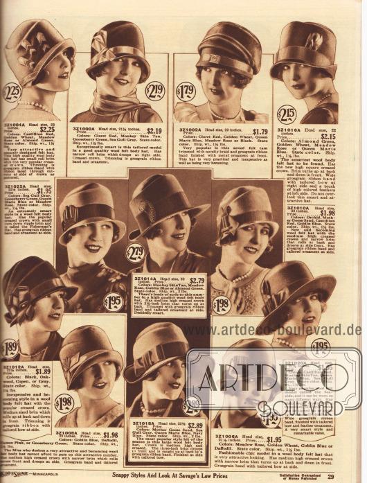 """Zwölf kleidsame Hüte aus Woll-Filz für Damen. Die vielfach geknifften Hüte haben runde oder zylindrische Köpfe und präsentieren knappe oder kurze gebogene Krempen. Zwei Modelle mit handbreiten Krempen. Ein Hut im Stil einer Schottenmütze (""""Tam-o-Shanter""""). Die Hüte zeigen recht zurückhaltenden Zierrat. Vor allem breite und schmale Ripsbänder, Ripsband-Applikationen, Federn oder Ornamente aus Metall wurden als Aufputz verwendet."""
