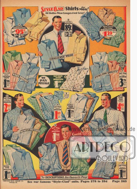 """""""Hemden der Marke 'Style Clad' für Männer! Bessere Passform – längere Tragbarkeit – kostet weniger!"""" (engl. """"'Style Clad' Shirts for Men! Fit Better – Wear Longer – Costs Less!""""). Einfarbige und gemusterte Anzughemden aus stumpfen oder schimmernden Baumwoll-Breitgeweben, Rayon-Baumwoll-Kristall-Krepp, farbechtem Ratière-Breitgewebe, Rayon-Breitgewebe, reiner Seide oder farbechtem Perkal für Herren und modebewusste junge Männer. Bei den meisten Hemden sind die Kragen angeschnitten (schmale Kentkragen) oder es werden zwei Kragen zum Wechseln mitgeliefert. Fast alle Hemden mit Brusttasche."""