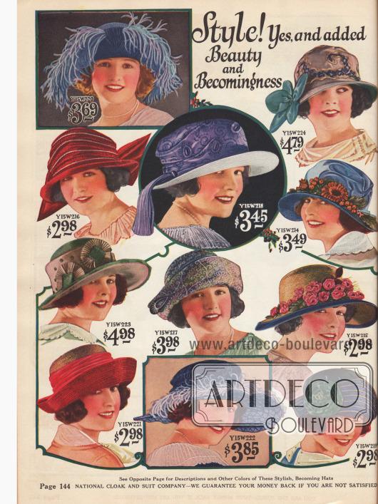 Damenhüte aus Stroh und Taft. Auch hier findet sich ähnlicher Zierrat wie auf der vorigen Seite 143.