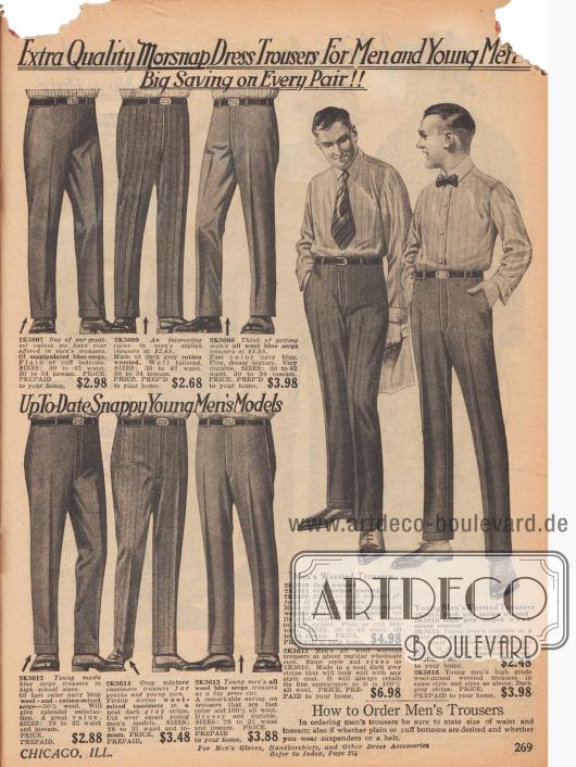 """Doppelseite mit Arbeits- und Anzughosen sowie Regenmänteln aus wasserabweisenden Mischstoffen für Männer. Die Arbeitshosen (links) aus widerstandfähigem Khaki, """"moleskin"""" (dt.: Englischleder) Jeans- und Kordstoff zeigen einen weiteren Schnitt als die Anzughosen der gegenüberliegenden Seite aus Serge, verstärkter Baumwolle, Baumwoll- und Wollmischstoffen und Woll-Kaschmir Auch die Nähte der Arbeitshosen sind verstärkt. Auch die Kniebundhose aus Khaki kann für die Arbeit verwendet werden."""