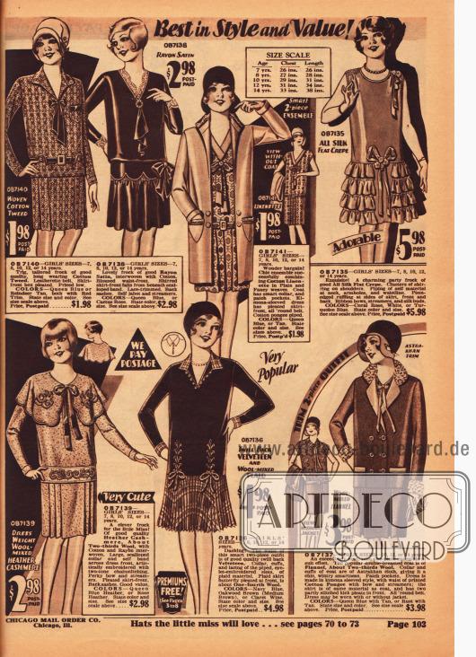 Vier Kleider, zwei Ensembles und ein schickes Tanzkleid für Mädchen im Alter zwischen 7 und 14 Jahren. Die Kleider sind aus Baumwoll-Tweed, Rayon-Satin, Woll-Kaschmir sowie Samt und Wolle gearbeitet. Die beiden Ensembles bestehen aus Baumwoll-Leinen (oben Mitte) und Woll-Flanell (unten rechts). Das ärmellose Partykleid oben rechts ist dagegen aus Seiden Krepp hergestellt worden.