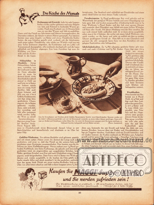 """Artikel:O. V., Die Küche des Monats (Krebssuppe mit Eierstich, Hühnerleber in Muscheln, Gefüllter Filetbraten, Punschreisspeise, Schokoladenkuchen, Kirschkuchen, Schnittbohnensalat).Fotografie:Bildunterschrift """"Eine bei Erwachsenen und Kindern gleich beliebte Bananenspeise bereitet man folgendermaßen: Bananen werden mit der Gabel vollkommen zerdrückt und, mit viel Zitronensaft vermischt, zu einem dicken Schaum geschlagen. Dann stellt man aus Zucker und Eiweiß ganz steifen Schnee her, der unter die Bananenmasse gezogen wird. Die Speise wird kurz vor Gebrauch bereitet, kaltgestellt und mit Biskuit serviert."""" Foto: Sonderhoff.Werbung:Maggis Suppen-Würfel."""