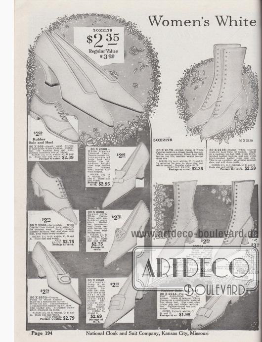 """""""Weiße Damenschuhe aus Kanevas"""" (engl. """"Women's White [Canvas Footwear]""""). Günstige Sommerschuhe für Frauen. Pumps, Kolonialpumps mit schnallenartigen Ornamenten, Schnürstiefel, Oxfords, Sport Oxfords und ein Pump mit Knöchelschnalle (Modell """"Baby Jane"""") aus weißem, luftdurchlässigem Kanevas. Die Damenschuhe besitzen breite, mittelhohe Militärabsätze, relativ hohe, geschwungene Louis XIV Absätze oder niedrige Laufabsätze. Die Schuhe sind leicht zu reinigen."""