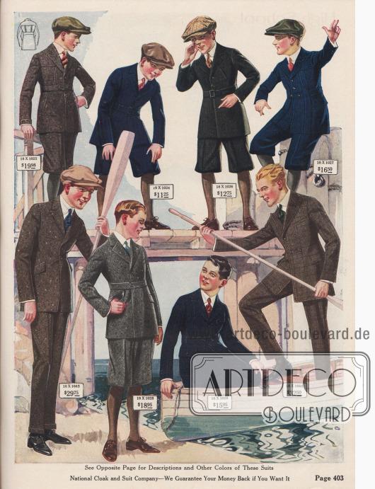 Sportliche Norfolk-Anzüge für Spiel- und Freizeit sowie zwei Straßen- und Schulanzüge (unten links und rechts außen) für Jungen und heranwachsende junge Männer von 11 bis 18 Jahren. Die Anzugstoffe sind Baumwoll- und Wollmischgewebe, Kaschmir-Wolle oder Woll-Serge. Die Anzüge im Norfolk Stil sind mit Gürteln, mehreren Taschen oder auch breiten vertikalen Blenden versehen. Norfolk-Anzüge besitzen zudem oft Dehnnähte an der Brust oder im Rücken. Die kleineren Jungen tragen kurze Knickerbockerhosen, während die Anzüge der Älteren mit lange Hosen ausgestattet sind. Bei den beiden Straßen- und Schulanzügen ist einer einreihig, der andere zweireihig. Beide Modelle mit Steppnähten und Taschenpatten.