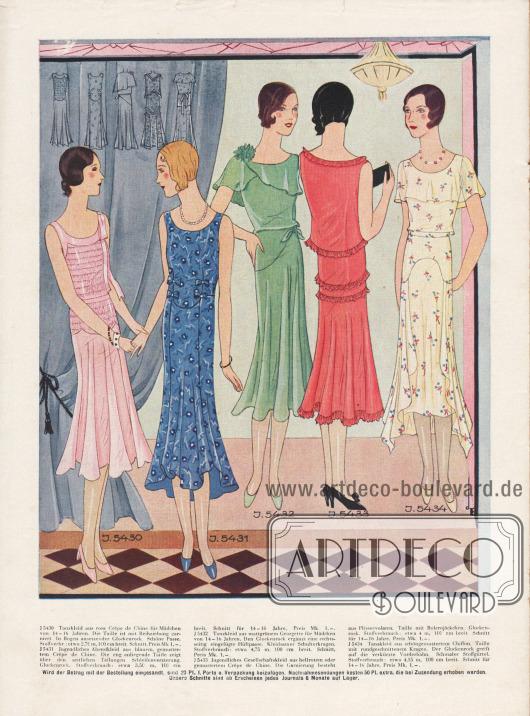 Tanzkleider und jugendliche Abendkleider für junge Damen im Alter von 14 bis 16 Jahren.Das erste Kleid ist mit Reihenziehungen garniert. Das dritte Kleid zeigt einen schönen Schulterkragen, wohingegen das folgende Kleid von Pliseevolants garniert wird. Ein rund geschnittener Kragen ziert das letzte Kleid. Gemein ist allen Kleidern der glockige Rock.Rosa, gemustertes und hellrotes Crêpe de Chine, mattgrünes Georgette und gemusterter Chiffon finden Verwendung.