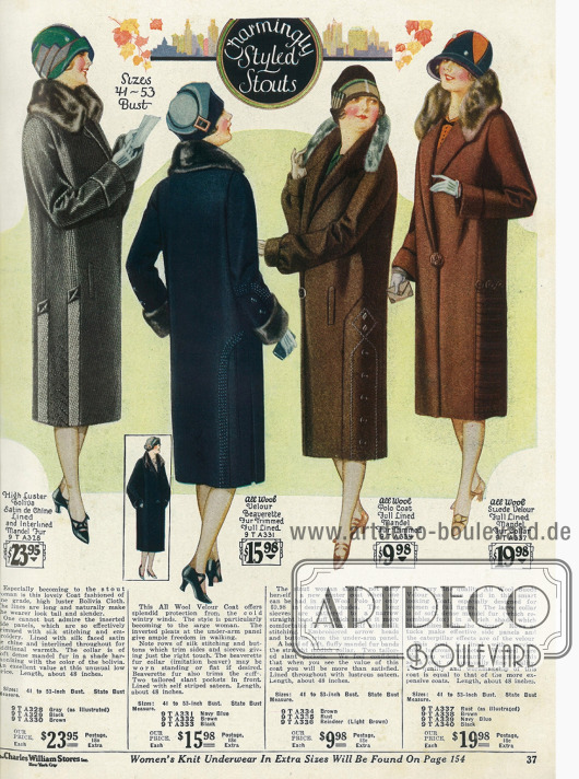 Wintermäntel für beleibtere Damen aus glänzendem Bolivia (Wollstoff), Velours, Polo-Wolle und Veloursleder mit Pelzbesätzen aus Fuchspelzimitat und Bieber.