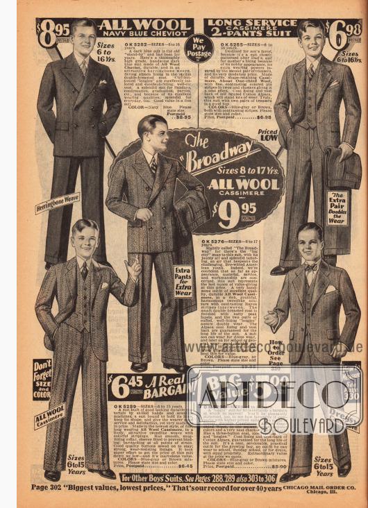 """Zwei doppelreihige und drei einreihige Anzüge für Jungen und junge Männer im Alter von 6 und 17 Jahren. Gefertigt sind die Anzüge aus Woll-Cheviot und Woll-Kaschmir. Die Muster der Stoffe zeigen dezente Streifen, Fischgrätenmuster und Kombinationen aus beiden. In der Mitte wird ein """"Broadway"""" Anzugmodell beworben."""