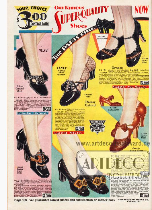 Sechs Paare mit Damenschuhen, also Oxfords und Schnallenschuhen, aus Lackleder, reptilgenarbtem Leder, Chevreauleder und Samt für jeweils 3,00 Dollar. Mehrere Schuhe sind mit zwei verschiedenartigen und -farbigen Ledersorten kombiniert. Kleine Schleifen, Ausstanzungen und Ziernähte geben jedem Schuh einen eigenen Charakter.