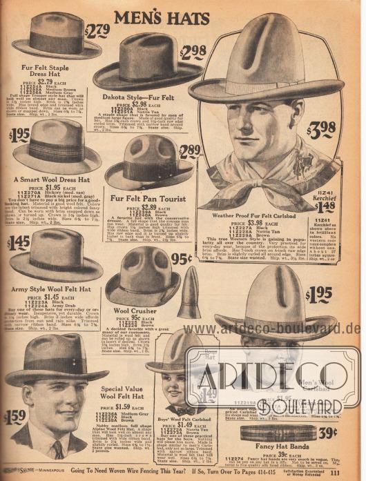 """Hüte für Herren. Elegante Straßenhüte aus Woll-Filz sowie Armee Hüte, Ranch Hüte im """"Dakota Style"""" und """"Pan Tourist"""" Hüte für den konservativen Geschmack aus Filz. Rechts zwei Wild-West Karlsbad Hüte mit hohem Kopf. In der Mitte unten ist auch ein Modell für Jungen."""
