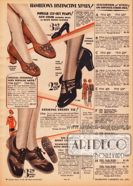 Zwei elegante Damenschuhe (Pumps) und ein Paar Sportoxfords aus Kalbsleder oder Lackleder. Die beiden oberen Modelle zeigen mittelhohe, recht dicke Kubanische Absätze und reichlich Ausstanzungen als dekorative Elemente. Die Oxfords mit flachen Absätzen sind aus zweifarbigen Ledersorten hergestellt und besitzen eine Gummisohle. In der rechten Spalte befinden sich die Beschreibungen für die Schuhe auf der folgenden Farbseite 87.