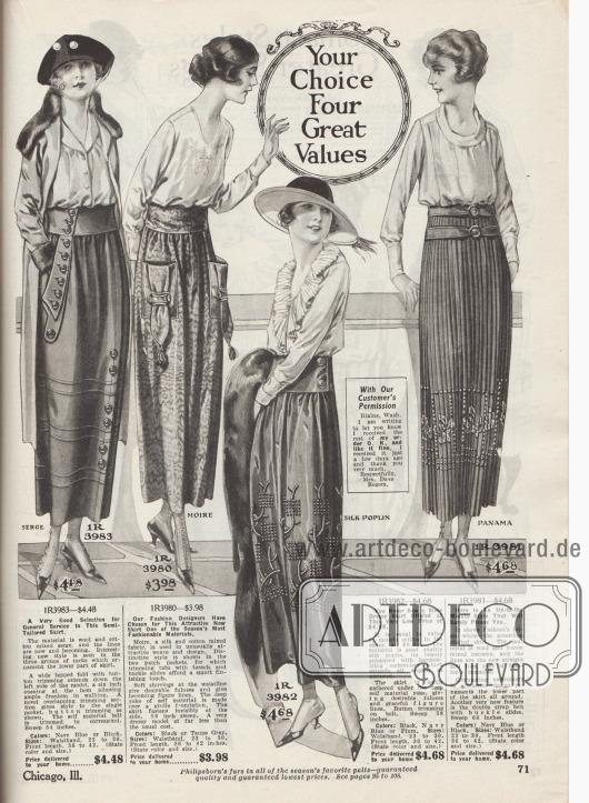 """""""Vier besondere Werte Ihrer Wahl"""" (engl. """"Your Choice Four Great Values""""). Vier extravagante Damenröcke aus Baumwoll-Woll-Serge, gemustertem Baumwoll-Seiden Moiré, Seiden-Popelin oder Woll-Baumwoll-Panama. Der erste Rock besitzt wie die folgenden beiden Röcke eine breite Gürtelpasse. Die große Tasche ist seitlich eingelassen und mit Patten und vielen Knöpfen verziert. Der Rock ist mit sechs Reihen Biesen ringsum ausgestattet. Die aufgesetzten Beuteltaschen des zweiten Rocks sind mit Bändern, Metallschnallen und Quasten versehen. Beim dritten Rock ist der Stoff unterhalb der breiten Gürtelpasse dicht angesetzt, um die modische Weite zu erzielen. Harmonierende, flächige Stickerei dient als Garnierung. Das vierte Modell ist gänzlich aus Akkordeonplissee hergestellt und besitzt zwei Gürtel jeweils mit einer Schnalle. Farblich kontrastierende Stickerei ist unterhalb des Knies zu finden."""