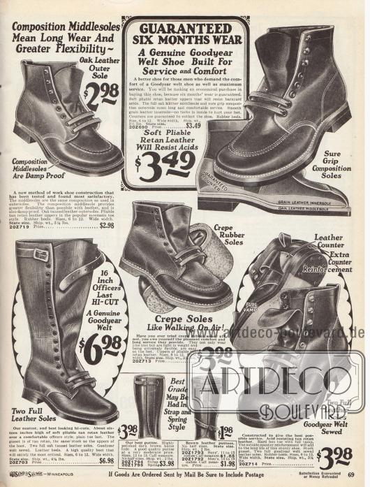 """Hochgeschlossene Arbeitsstiefel mit Riemen und Arbeitsschuhe aus nachgegerbten Ledersorten mit Leder- und Gummisohlen für Männer. Die Modelle zeigen die beliebte runde Mokassin Naht an der Kappe, eine glatte Verarbeitung oder eine Quernaht mit Perforation über der Schuhkappe. Viele Modelle sind nach rahmengenähter Machart hergestellt (""""Goodyear welted""""), um die Haltbarkeit und Lebensdauer zu erhöhen."""